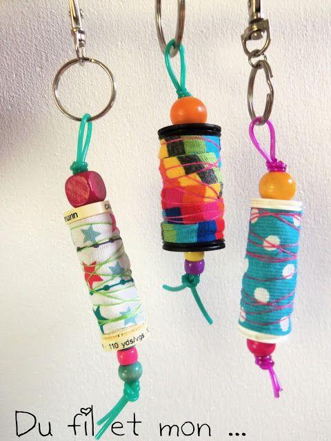 Du fil et mon : Porte-clés Récup': recyclage de bobine + chute