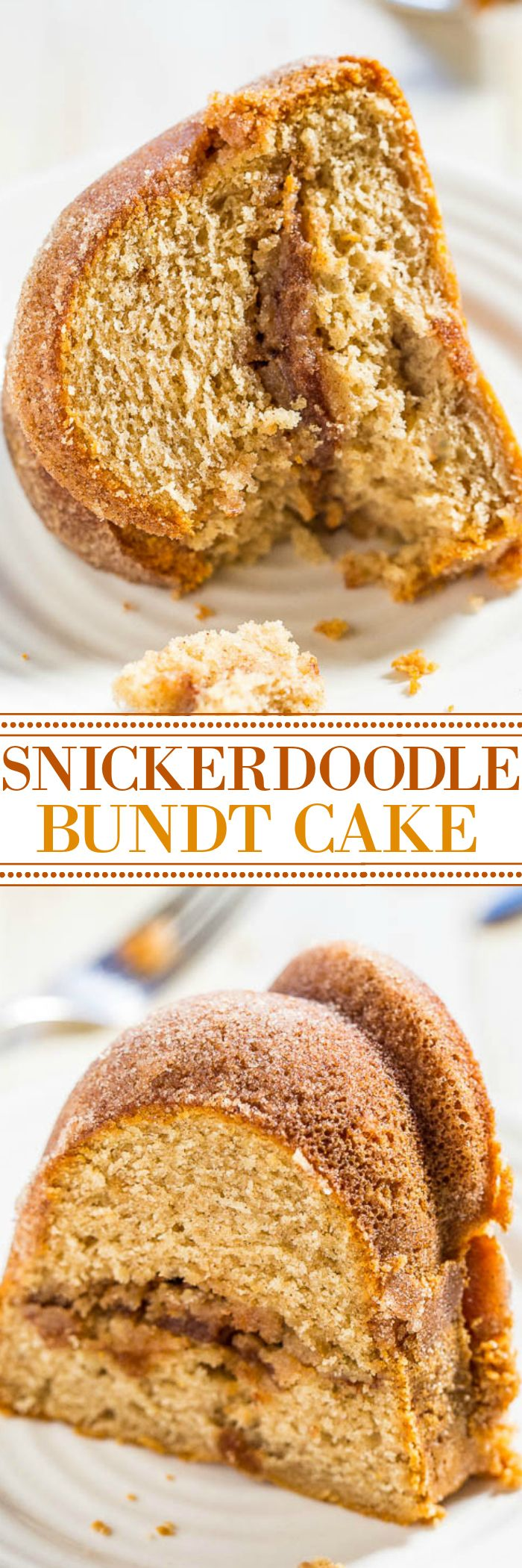 Snickerdoodle Bundt Cake - A cinnamon-sugar filling runs through the center of this soft, buttery cake that's also coated with cinnamon-sugar!! Everyone loves this easy cake that tastes like snickerdoodle cookies!!
