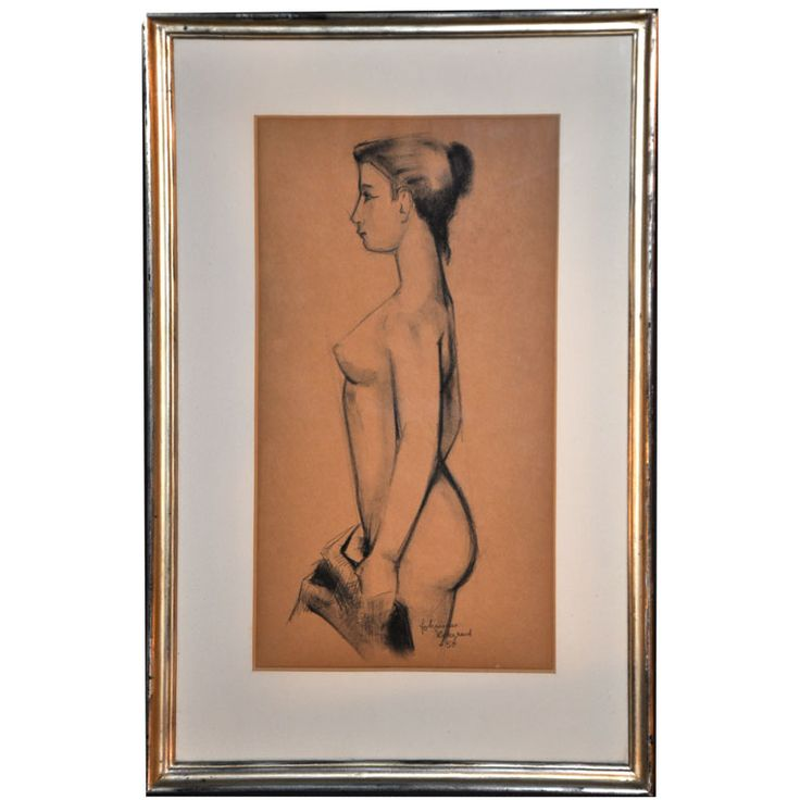 REMARKABLE CHARCOAL NUDE BY JOHANNES HEDEGAARD | From a unique collection of antique and modern drawings at https://www.1stdibs.com/furniture/wall-decorations/drawings/