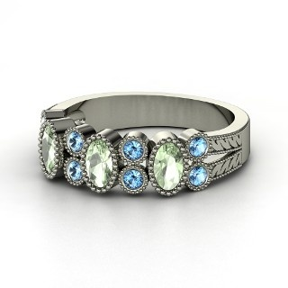 Hopscotch Band,   Sterling Silver Ring  with Green Amethyst  & Blue Topaz    For completing 10k in October