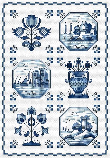 LJT160 Delft Tiles | Lesley Teare Needlework and Cross Stitch Chart Designs