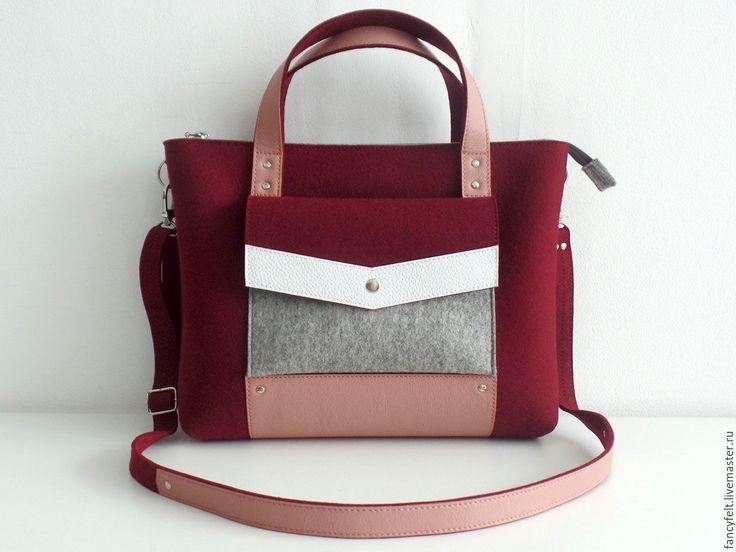 Купить Бордовая сумка-портфель из фетра и натуральной кожи - сумка из фетра, сумка из кожи, белый