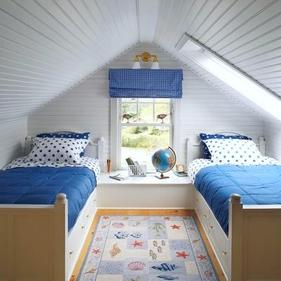 low ceiling attic bedrooms | ... panels protect the ceiling in this small space attic room for two