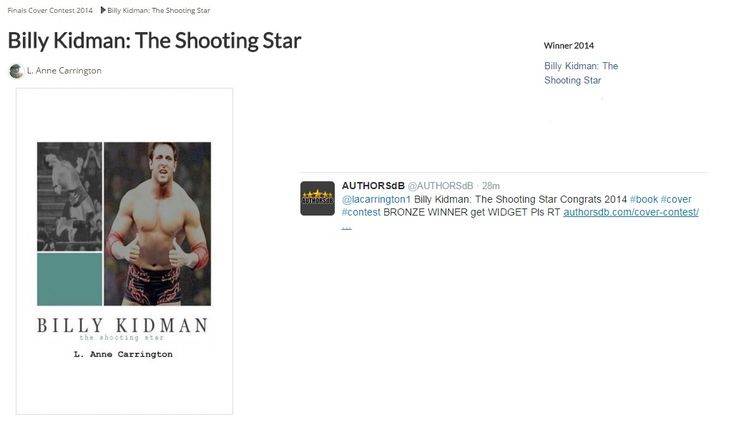 'Billy Kidman: The Shooting Star' is a Bronze Winner in the 2014 AuthorsDB Cover Contest!