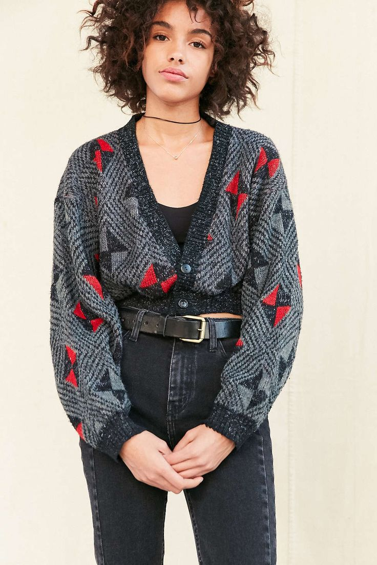 Urban Renewal Remade Cropped Vintage Patterned Cardigan - Urban Outfitters