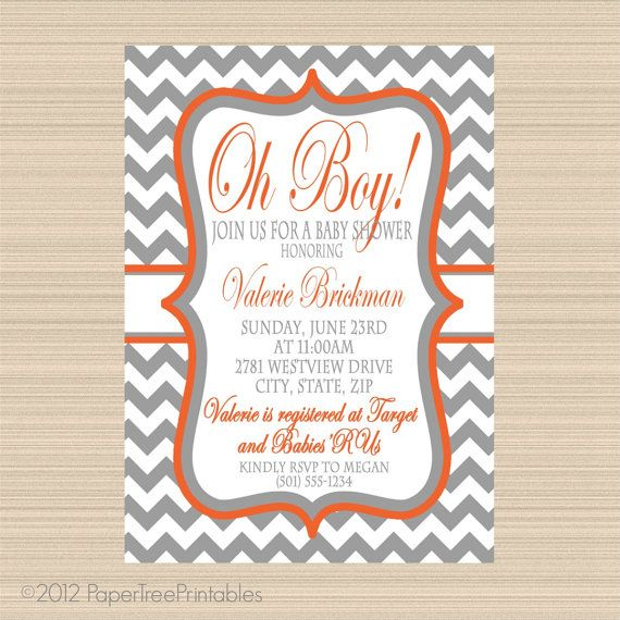 Oh Boy Baby Shower Digital Invitation, Grey and Orange Chevron