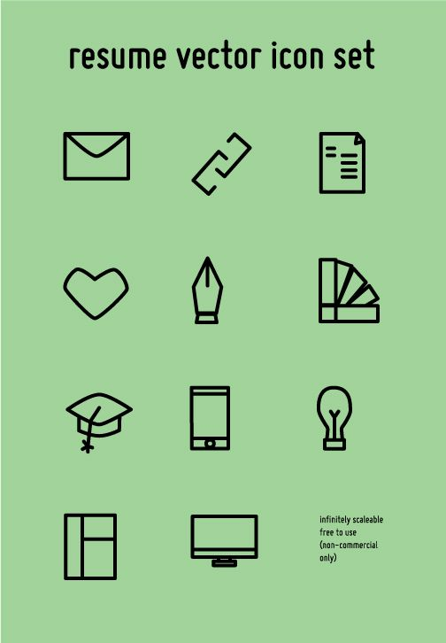 resume icon set  free download  by whitney baumann  via behance