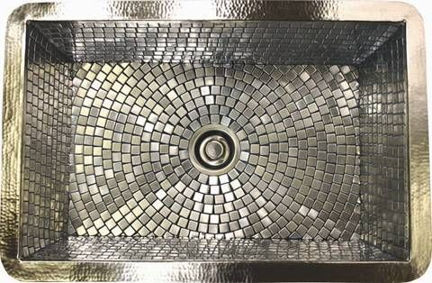 Sink Hand Hammered Copper Which Is Finished In Satin Nickel And The Basin Features A Mosaic Pattern Created From Small Stainless Steel Tiles