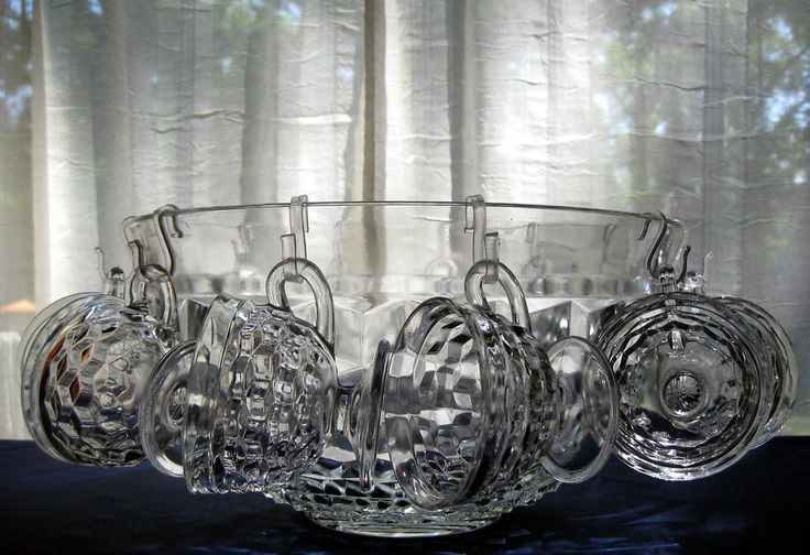 Indiana Colony Glass Clear Whitehall Punch Bowl, Cups, Hooks, Ladle 26 piece Set | Pottery & Glass, Glass, Glassware | eBay!