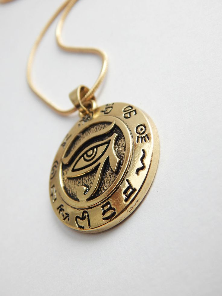 New to TheBlackerTheBerry on Etsy: Gold Egyptian Eye Pendant Necklace Egyptian Jewelry