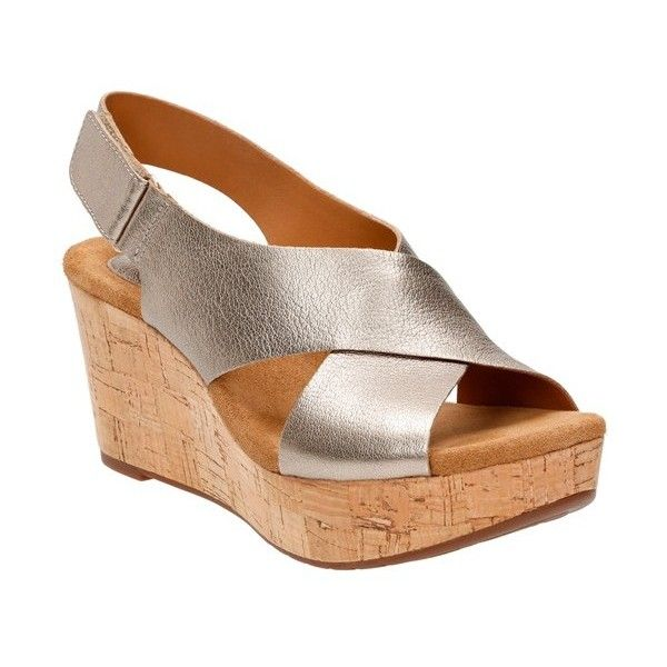 """Clarks 'Caslynn Shae' Wedge Sandal, 3"""" heel (1,705 MXN) ❤ liked on Polyvore featuring shoes, sandals, gold leather, high heel platform sandals, high heel sandals, platform wedge sandals, summer shoes and high heel wedge sandals"""
