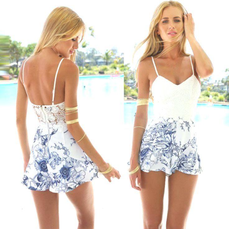 Sexy Ladies V Neck Spaghetti Jumpsuit Boho Summer Beach Party Dress Short Jumpsuit - #Ball #Bodycon #Boho #Bridesmaid #Cocktail