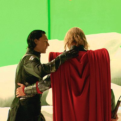 Tom Hiddleston and ChrisHemsworth on the set of Thor (2011)