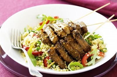 Arabic Food Recipes: Moroccan lamb skewers with couscous recipe