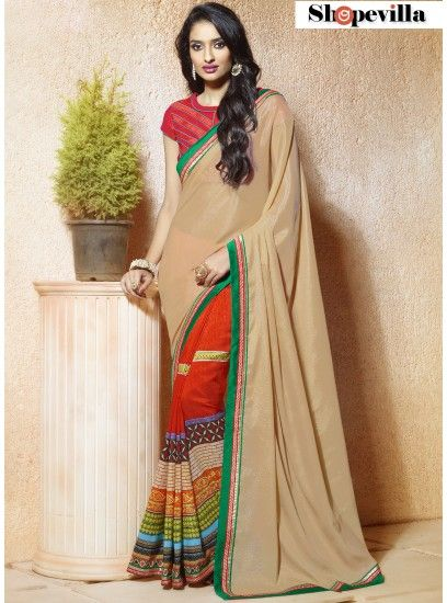 Red & Beige Crepe Casual Wear Saree-605