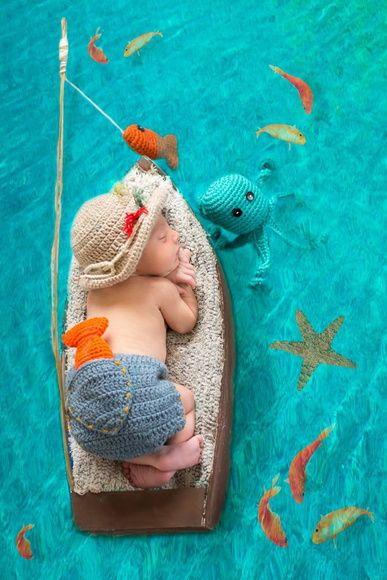 """Kit PESCADOR BABY em crochê.  ***Foto gentilmente cedida por: """"Patrícia Machado Fotografia"""", do Rio de Janeiro***"""