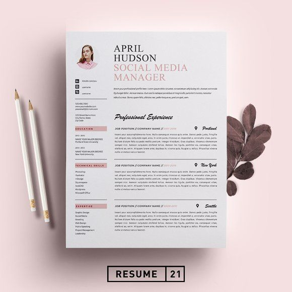 Social Media Resume Template Cv By Resume21 On