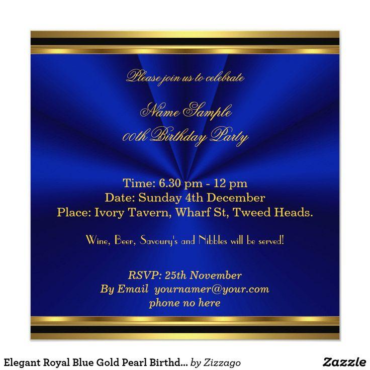 Elegant Royal Blue Gold Pearl Birthday Party Card