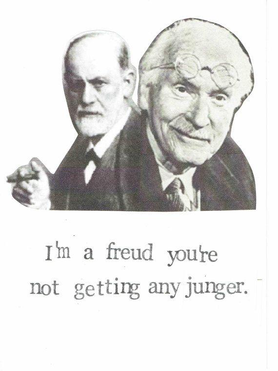 Freud-Jung-Geburtstagskarte   Lustige Psychologie zum Geburtstag witzig Nerdy Pun Psychoanalyse Humor Ratgeber Beratung Therapeuten alte Alterung