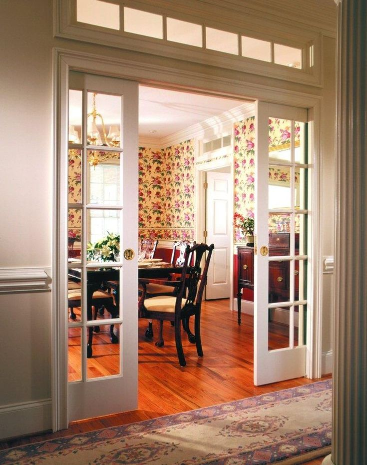 pocket doors between living room and kitchen or between