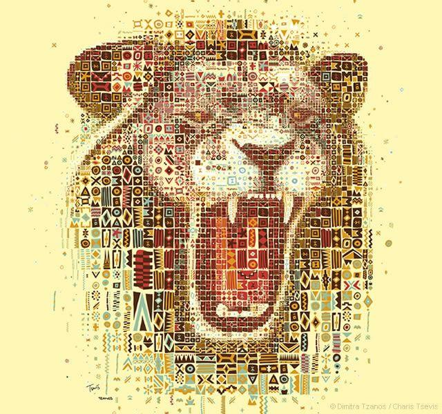 Lions mosaic portraits | Image courtesy of Dimitra Tzanos / Charis Tsevis #lion #mosaic