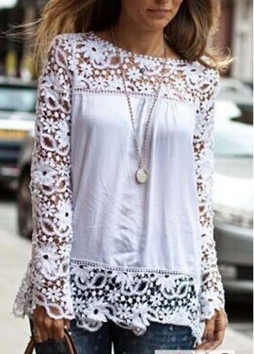 Charming Long Sleeve Round Neck White T Shirt | Rosewe.com