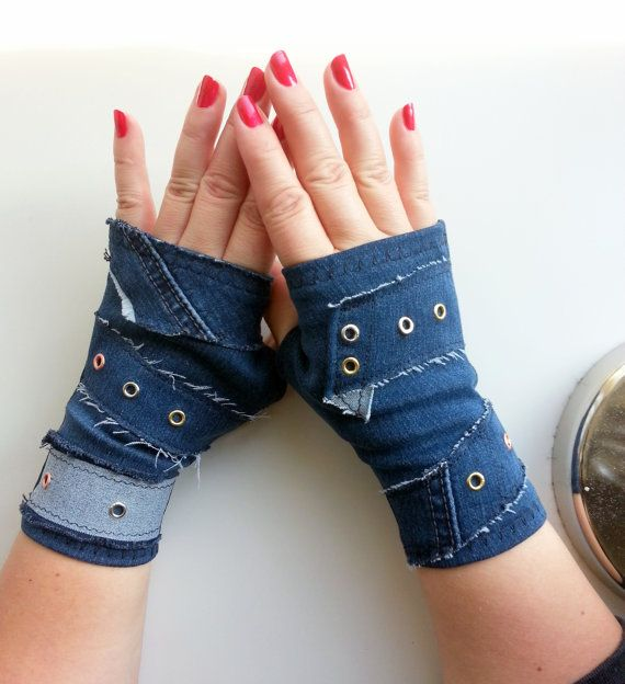 Blue jeans gloves,Fingerless Gloves,Fingerless Mittens,jeansGloves,Wrist Warmers,Handmade Fingerless Gloves, Hand Warmers,rock metal bloves, rocker