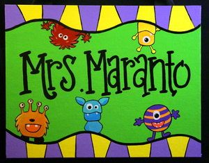 Teacher Door Sign with a Monster Theme! This high quality custom sign is hand painted on a flat canvas board, is sealed for protection, and comes with an attached ribbon hanger. Makes a wonderful gift for teachers! Size - 11 x 14 Sparkle coating available upon request. Colors may be customized. Please put the name that is to be added in the notes section when ordering. See all of our other Fancy creations or design your own at www.fancydaydesigns.com