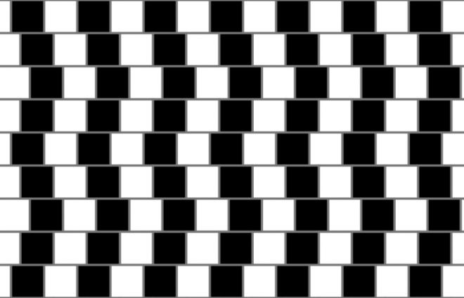 Seeing isnt believing: Mind-bending optical illusions | Fox News - Cafe wall illusion: the horizontal lines are parallel, even if they seem otherwise.