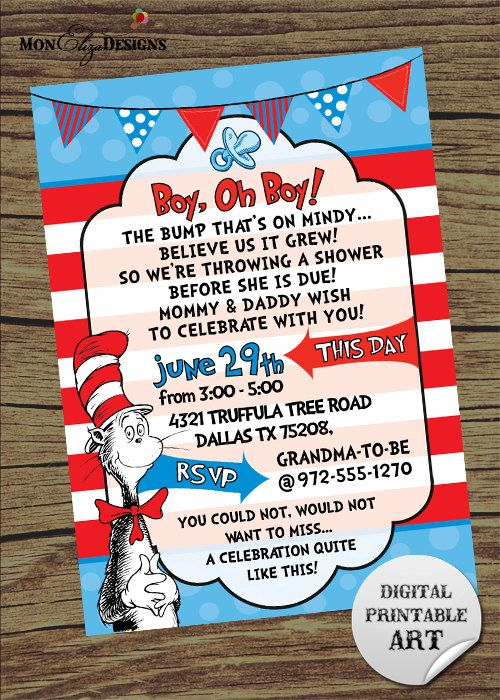 Dr Seuss Inspired Theme It's A Boy Baby Shower-this would be cute too to register for a bunch of Dr Seuss books and ask the guests to bring and sign one instead of a card