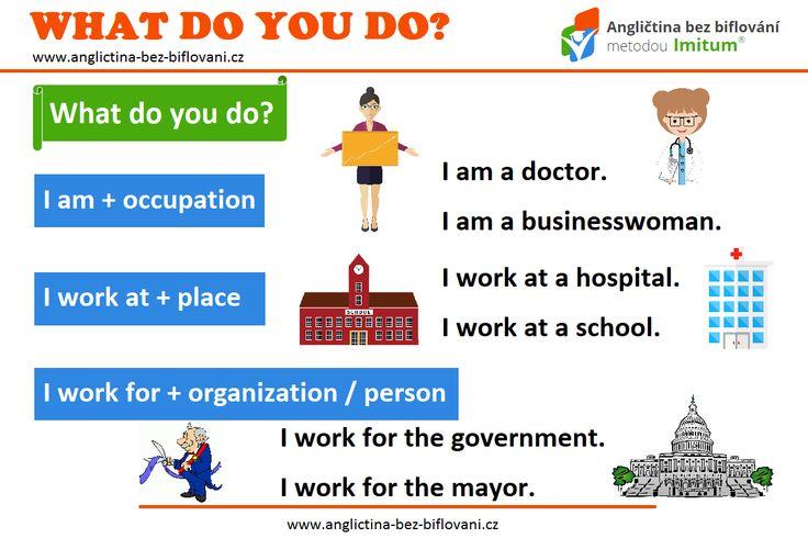 """Otázka na práci patří k oblíbeným konverzačním tématům.  Pokud se vás někdo anglicky zeptá """"WHAT DO YOU DO?"""", můžete odpovědět třeba takto.  #anglictina #fraze #prace"""