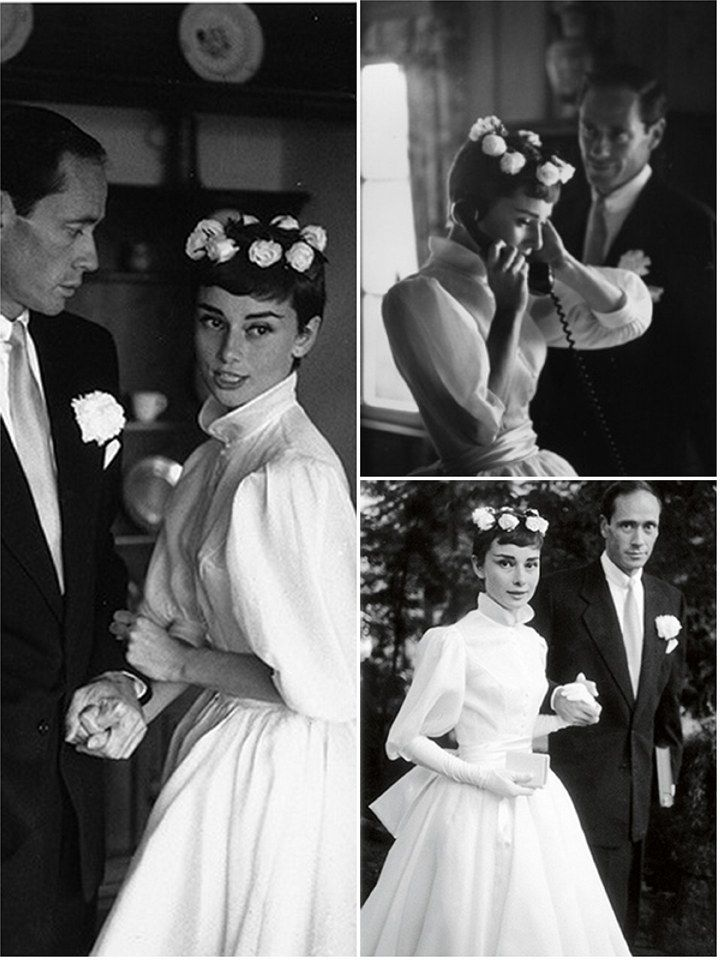 Audrey Hepburn wedding to Mel Ferrer 1954 (wearing Balmain)