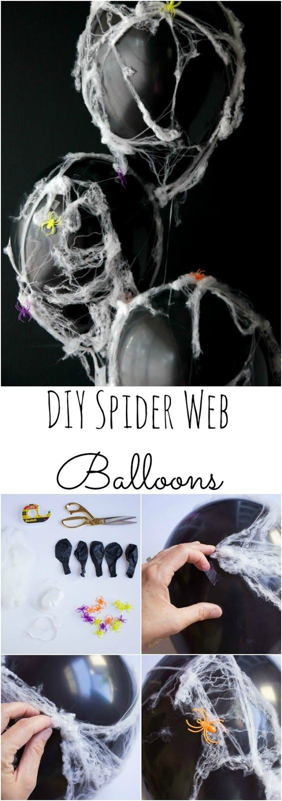 Halloween Spider Web Balloons - lightweight faux spider web and bright spiders transform plain black balloons into eerie and modern Halloween decor!
