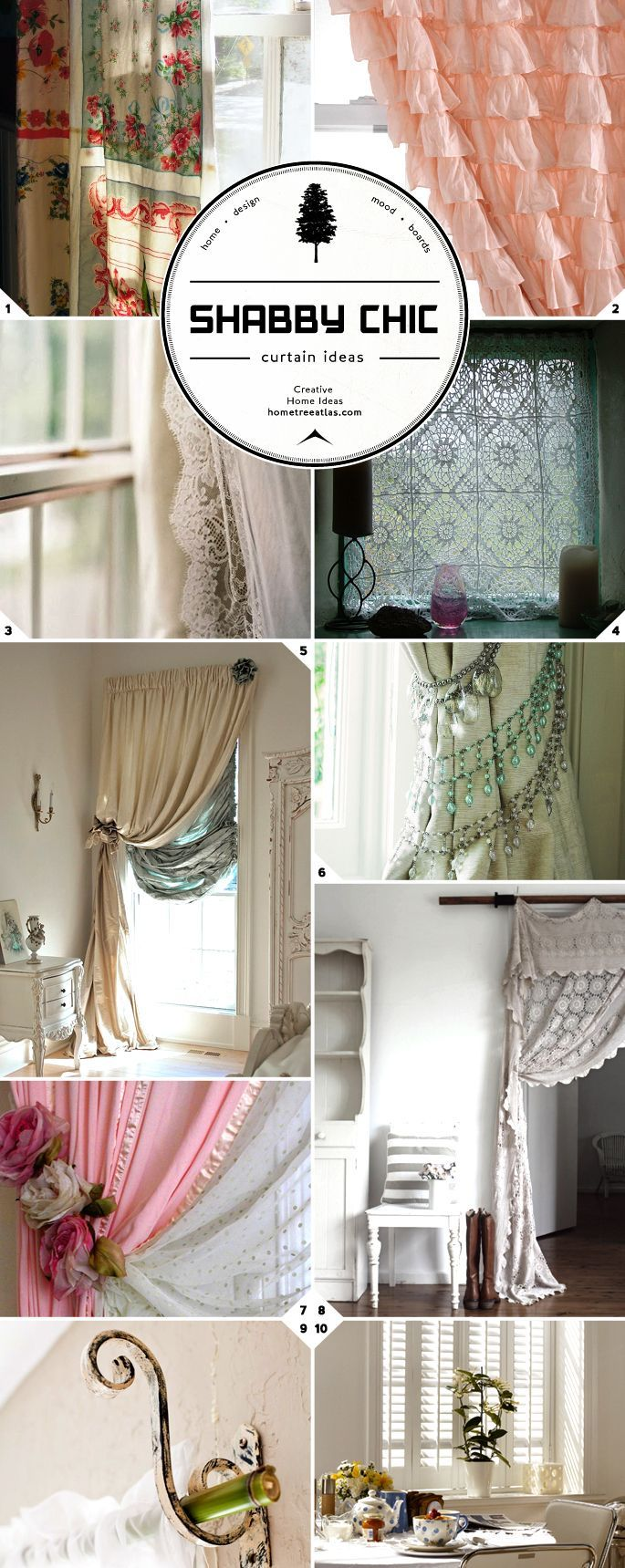 Shabby Chic is Still Chic for Those Who Love the Look! Window Treatment Style: Shabby Chic Curtains, Rods, and Tie Backs