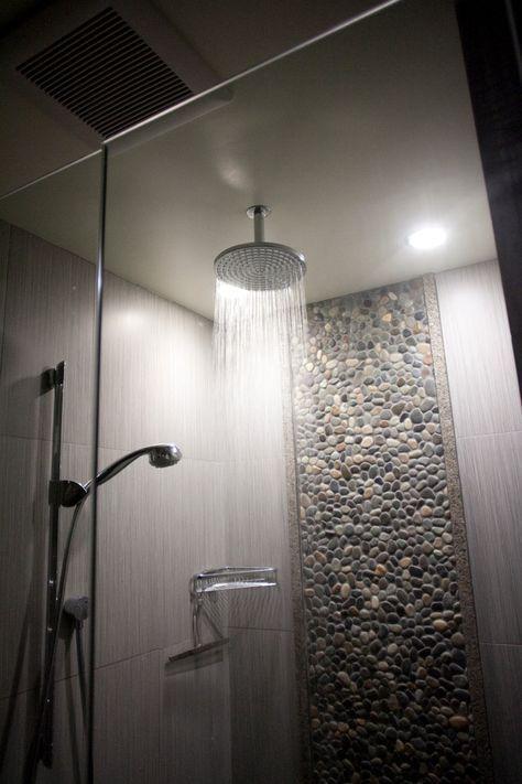 No tile on ceiling http://www.homefavour.com/category/Shower-Head/ rain-shower-head-Bathroom-Modern-with-beach-architecture-beach-organic