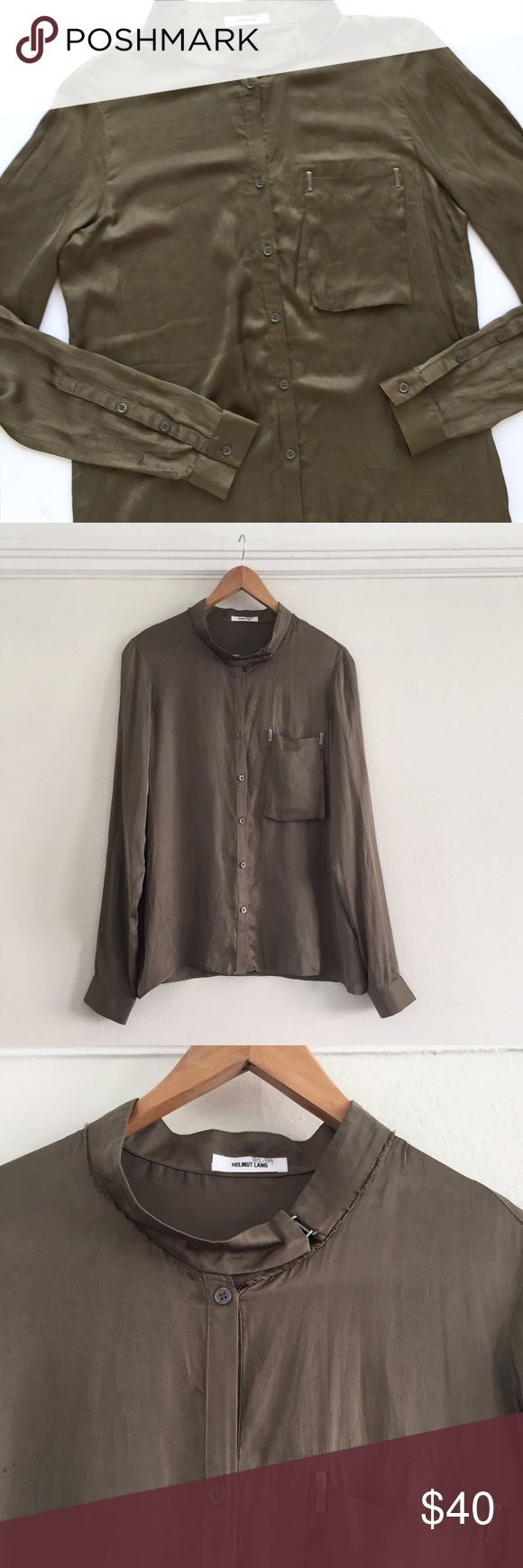 Helmut Lang Shirt Blouse Worn but in a good condition. Beautiful unique details. No size tag, but this is definitely an XS or a 0. Will look great on someone very slim/petite Helmut Lang Tops Button Down Shirts