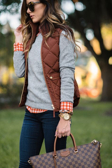 Fall layers. gighman shirt, greay sweater, puffer vest, skinny jeans and LV bag…