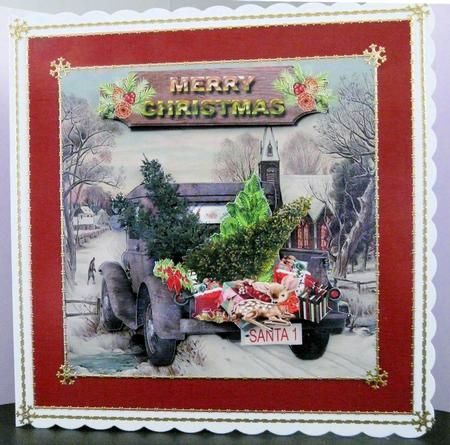 Santa's Tree Delivery card topper kit