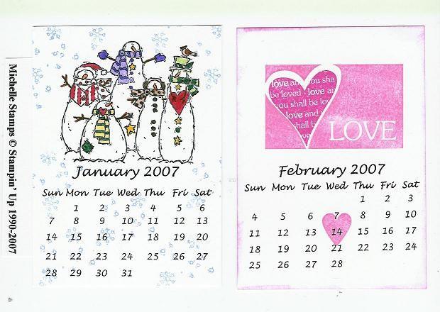 Jan-Feb 2007 Calendars   Cards I Made   Pinterest