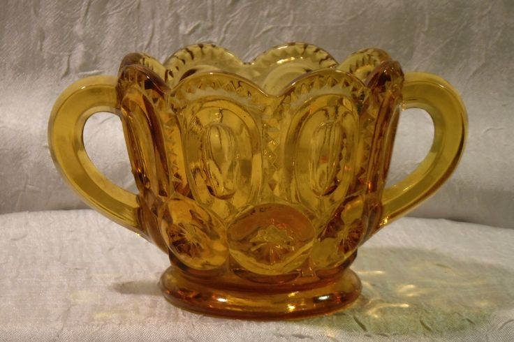 Amber Glass Open Sugar Bowl / Vintage 1960's L.E. Smith / Moon & Stars Pattern by OriginalVintageGypsy on Etsy