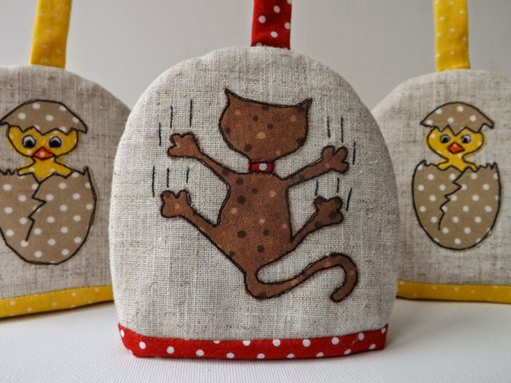 """SewforSoul: Applique """"Bad Kitty' Egg Cosy with Freestyle Machine Embroidery.  Cute Cat and Chicks Theme."""