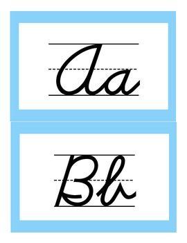 D'nealian Cursive Handwriting Alphabet Cards FREEBIE
