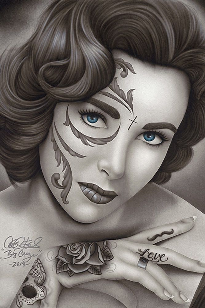 Liz by Big Ceeze Mexican Death Mask Elizabeth Taylor Paper Art Print