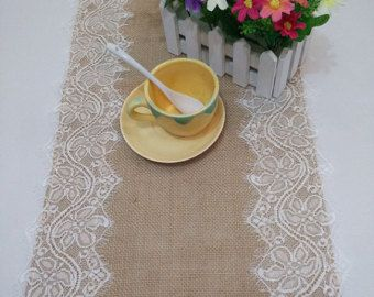 Hessian Table Runners Burlap Table Runner with by BridalWireHanger