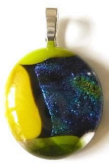 Large and vibrant pendant in yellow, blue and green glass.