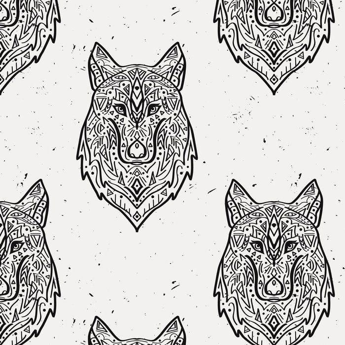 Tapeta Pixerstick Vector grunge monochromatyczny szwu z plemiennej stylu wilka z ornamentami etnicznymi. Amerykańskie motywy Indyjskim. Konstrukcja Boho. 365 dni na zwrot ✓ Miliony wzorów ✓ 100% Eco-Friendly ✓ Profesjonalna obsługa i doradztwo ✓ Skonfiguruj online!