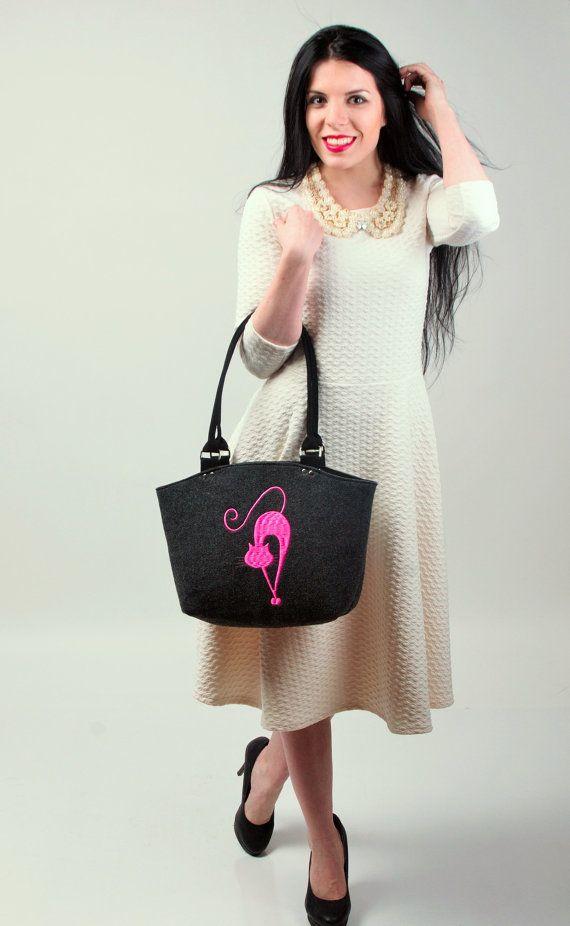 Felt Bag Handbag Purse Felt Cute Cat Design by CelticSecrets