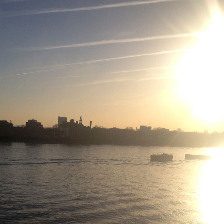 The evening sun setting over the River Thames. We are very lucky to have this view from the Catherine Deane HQ.