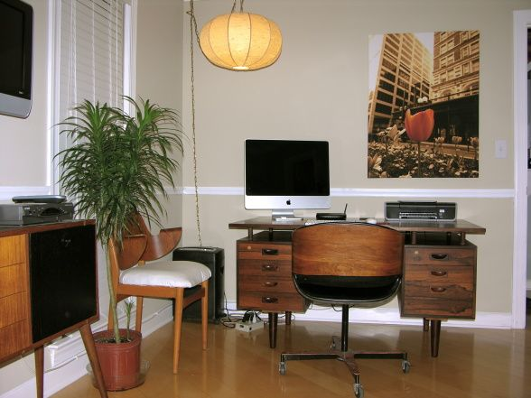 mid century modern office