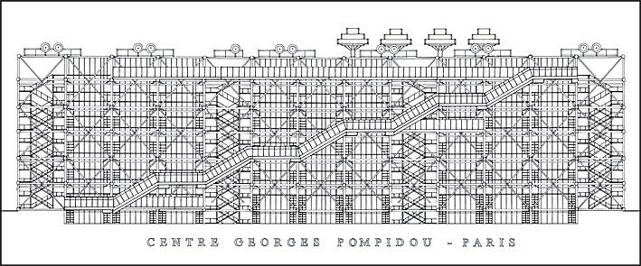 Centre Georges Pompidou / Renzo Piano + Richard Rogers   facade